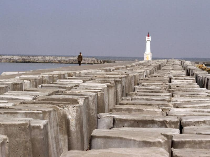 Photo taken on May 3, 2012 shows breakwaters of a newly-built port in Tanchon area of South Hamgyong Province, North Korea. AP Photo/Kim Kwang Hyon