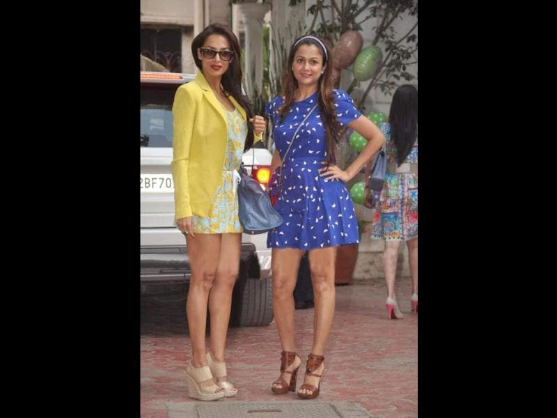 Actresses/sisters Malaika and Amrita Arora arrived together.
