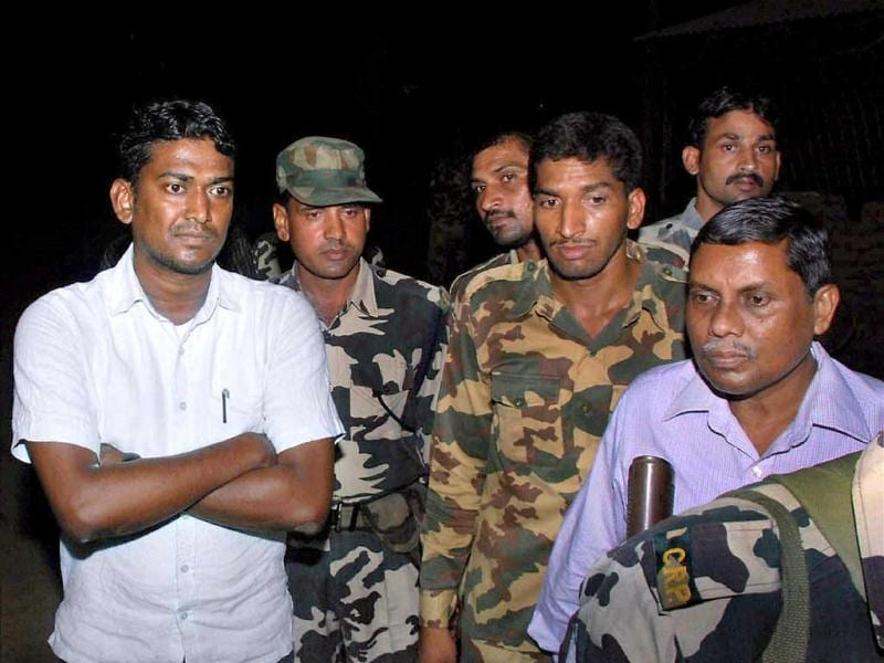 Sukma collector Alex Paul Menon at a CRPF camp in Chintalnar after being released by the Naxals. Menon had been in Maoists' custody since April 21. PTI photo