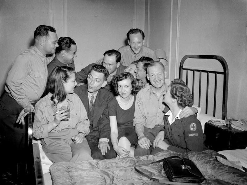 In this May 18, 1945 file photo, AP Paris staff join Paris bureau chief Ed Kennedy, seated center left, for a farewell get-together, just before he embarked for the United States at the request of AP general manager Kent Cooper. Kennedy was dismissed by The AP after he became the first journalist to file a firsthand account of German officials surrendering unconditionally to Allied commanders at a former schoolhouse in Reims, France. Sixty-seven years later, AP president and chief executive officer Tom Curley said that Kennedy was right to stand up to the censors, and should have been commended, not fired. AP/Pete Carroll