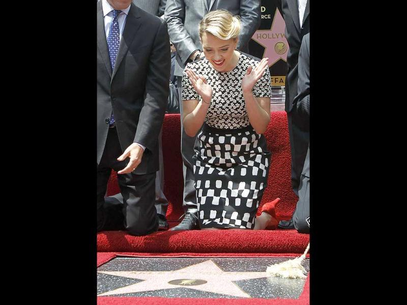 "The 27-year-old actor said that she was ""totally thrilled"" to have received a coveted star on the Hollywood Walk of Fame."
