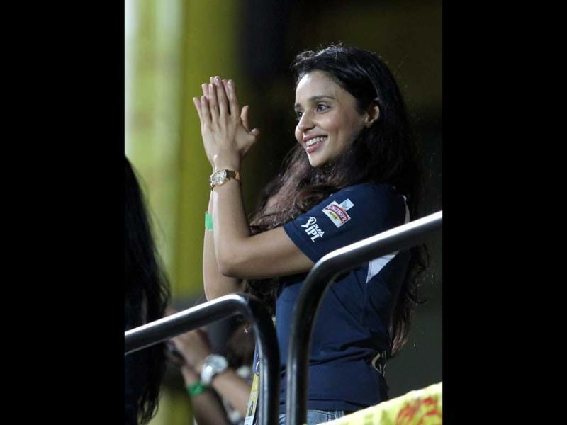 Deccan Chargers' co-owner Gayatri Reddy celebrates during the IPL5 match against Chennai Super Kings in Chennai. PTI Photo/R Senthil Kumar