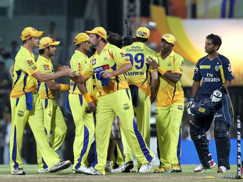 Chennai Super Kings players celebrate after beating Deccan Chargers' during the IPL 5 match in Chennai. PTI Photo/R Senthil Kumar