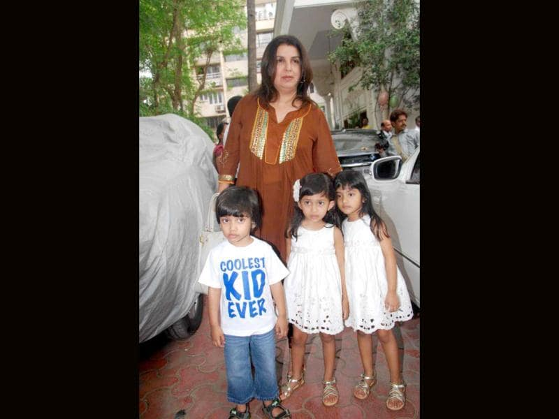 Farah Khan was spotted with her triplets at the function.