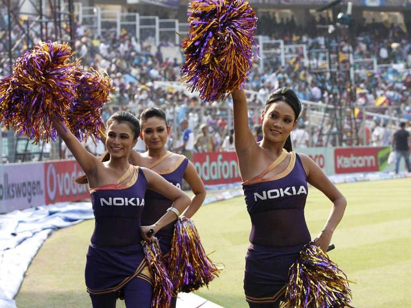Cheerleaders of Kolkata knight Riders during 5th edition of IPL at Eden Gardens. (HT Photo/Ashok Nath Dey.)