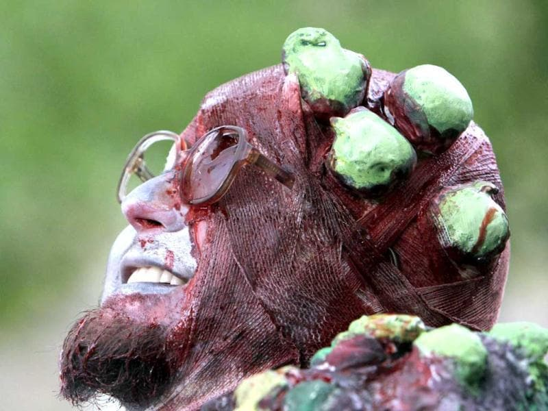 An enthusiast dressed as a zombie takes part in a Zombie Walk procession in Prague. Reuters/David W Cerny