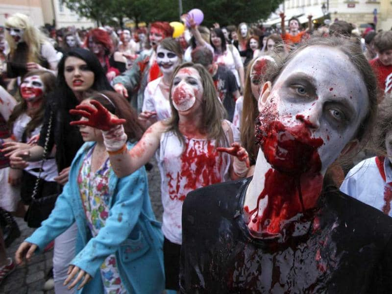 Enthusiasts dressed as zombies take part in a Zombie Walk procession in Prague. Reuters/David W Cerny