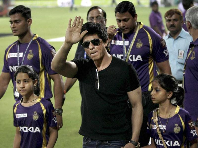 Kolkata Knight Riders' Shahrukh Khan waves to his fans during the IPL-5 match against Delhi Daredevils in New Delhi on Monday. PTI Photo/Aman Sharma