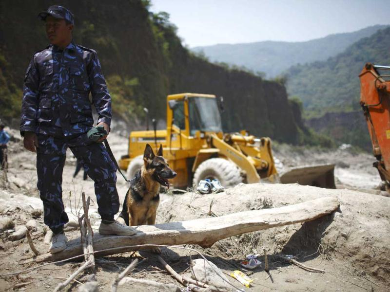 A member of the rescue team from Nepal police with his sniffer dog, named Rescue, looks on at the site that used to be a small village, swiped away by a flash flood caused by an avalanche in the Annapurna mountain range on Saturday, in Kaski district. At least 19 people, including three foreigners, are confirmed to have died and 45 still missing till today due to the flood in Pokhara and adjoining villages in Kaski district, according to a local media report. (Reuters)