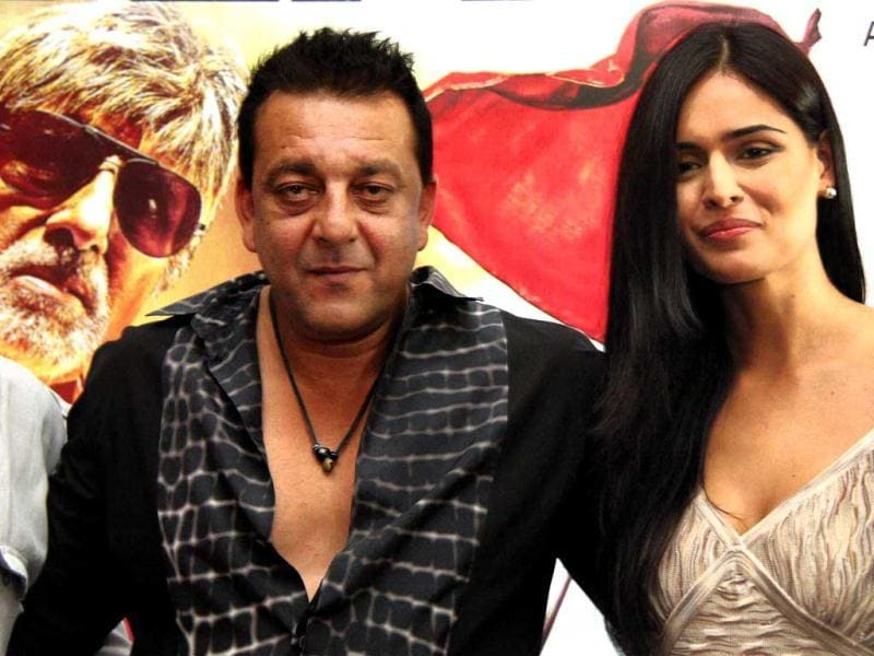 Sanjay Dutt and Nathalia Kaur at a promotional event of Department.