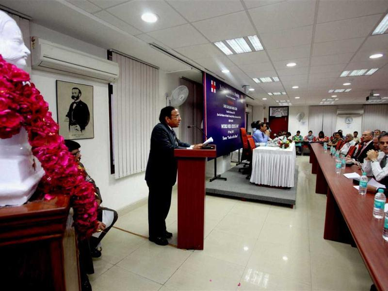 Indian Red Cross secretary general Dr SP Agarwal addressing a World Red Cross Day event in New Delhi. PTI/Atul Yadav