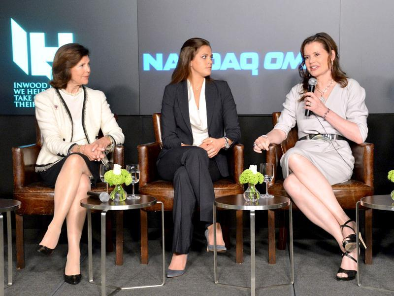 (L-R) Her Majesty Queen Silvia of Sweden, Her Royal Highness Princess Madeleine of Sweden, and actress Geena Davis attend the World Childhood Foundation USA Symposium In Partnership With Inwood House at NASDAQ MarketSite in New York City. AFP Photo