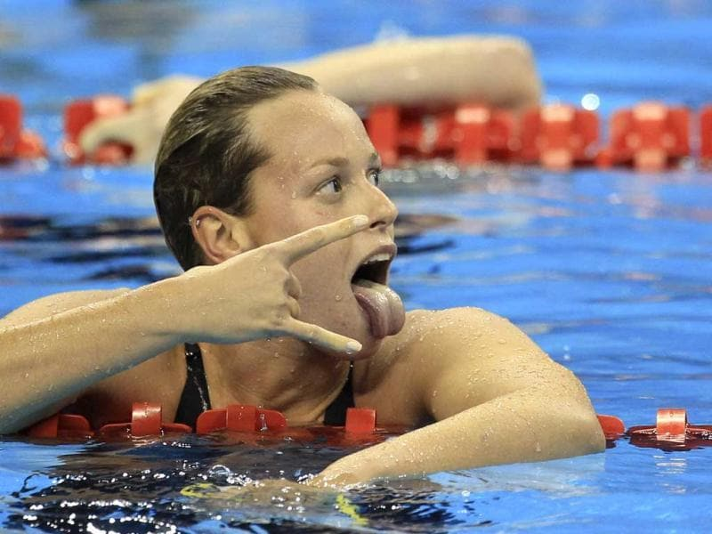 Italy's Federica Pellegrini reacts after winning the women's 200m freestyle final at the 14th FINA World Championships in Shanghai. Reuters/Christinne Muschi