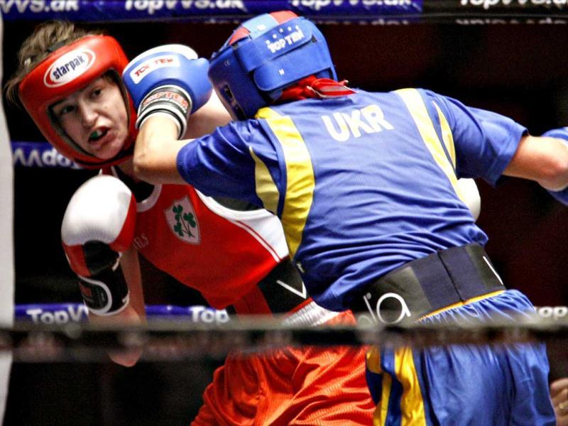 Katie Taylor of Ireland fights against Yana Zavyalova of Ukraine during their women's European Championships amateur boxing semi-final bout in Vejle. Reuters/Scanpix/Claus Fisker
