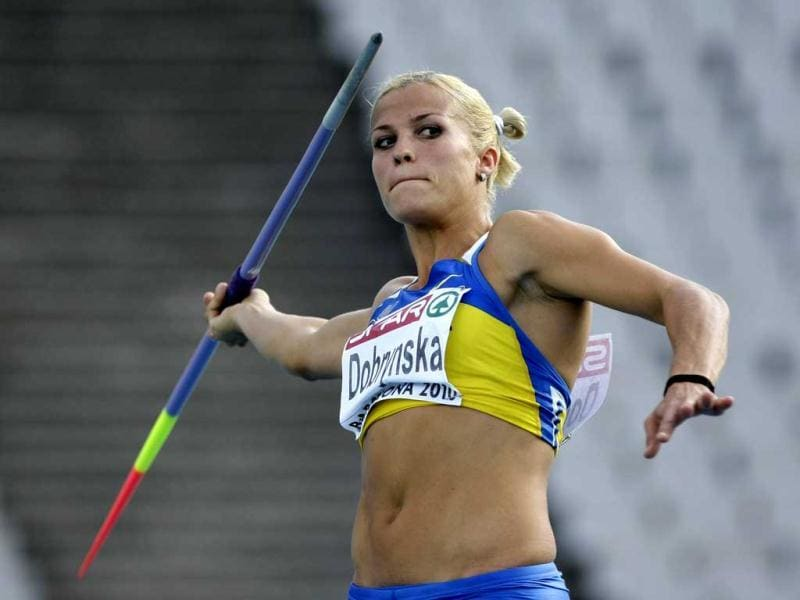 Nataliya Dobrynska of Ukraine competes during the javelin throw event of the women's heptathlon at the European Athletics Championships in Barcelona. Reuters/Dominic Ebenbichler
