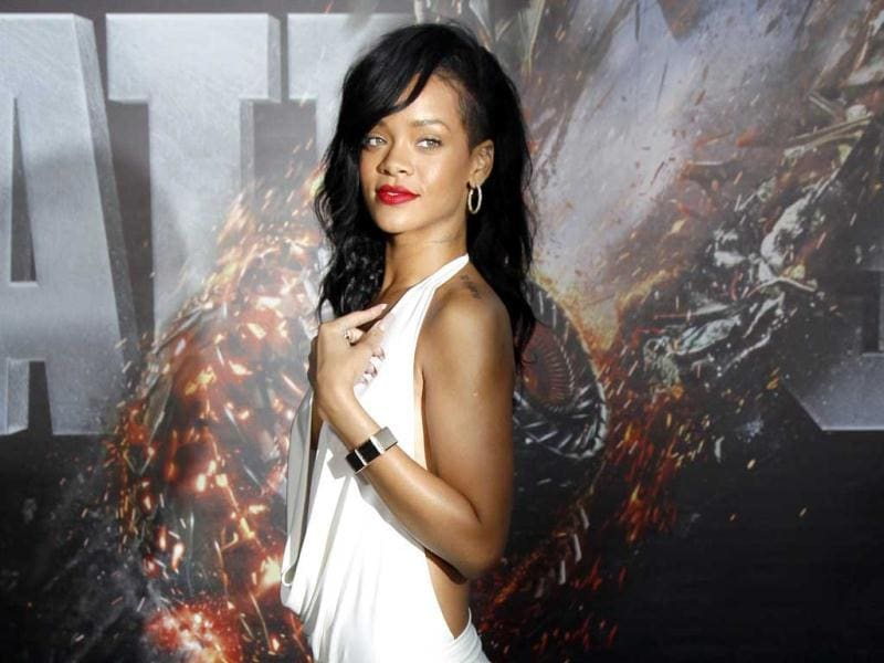 Cast member Rihanna poses at the American premiere of the Universal Pictures film