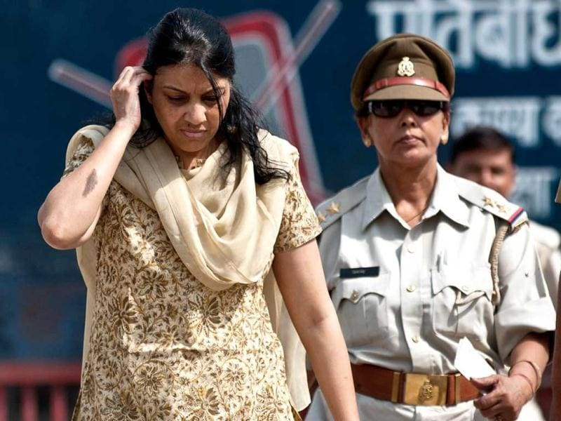 Nupur Talwar is escorted from the Dasna Jail to Ghaziabad court around 40kms from New Delhi. AFP/Manan Vatsyayana