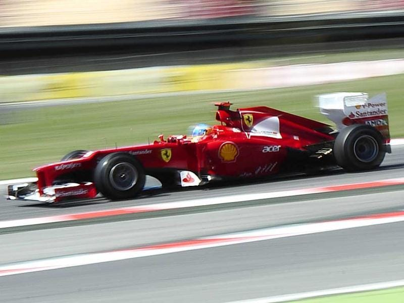 Fernando Alonso, from Spain, drivers his Ferrari during a first free practice at the Catalunya racetrack in Montmelo, near Barcelona, Spain. AP/Manu Fernandez