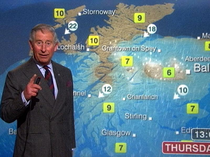 A still image from video shows Britain's Prince Charles presenting a special weather forecast during a visit to BBC Scotland's headquarters in Glasgow, Scotland. Reuters/Pool