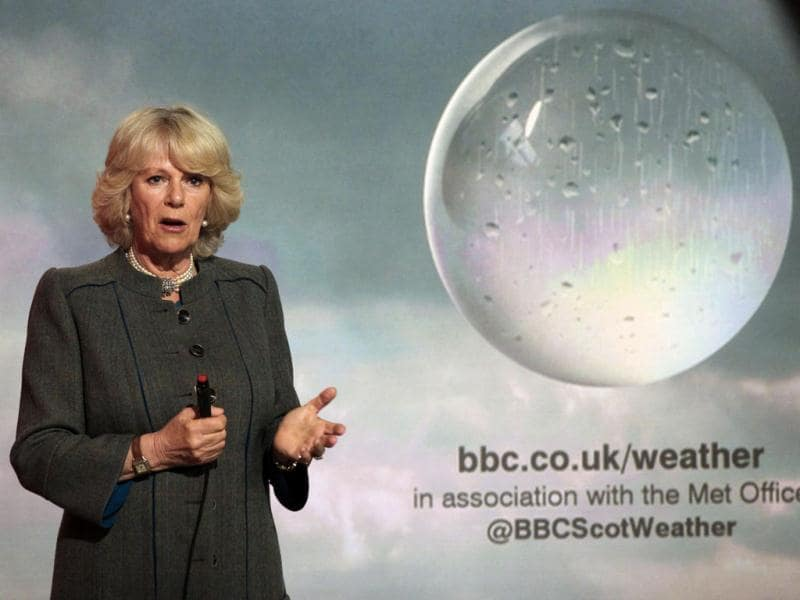 Britain's Camilla, Duchess of Cornwall, presents a special weather forecast during a visit to BBC Scotland's headquarters in Glasgow, Scotland. Reuters/ Andrew Milligan/Pool