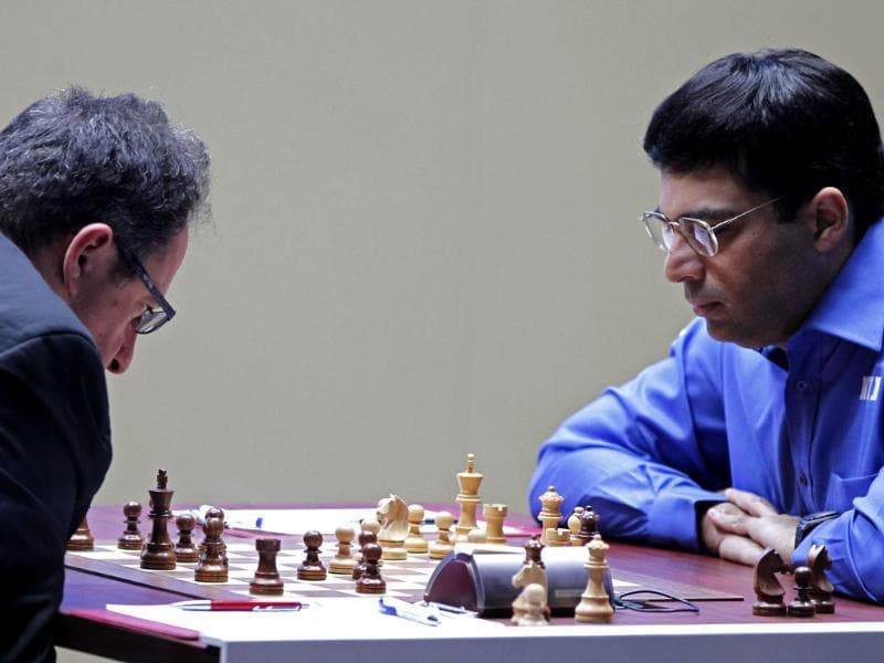 World Chess champion Viswanathan Anand from India, right, and his Israeli challenger Boris Gelfand, play a FIDE World Chess Championship match at Moscow's Tretyakovsky State Gallery, Russia. AP/Misha Japaridze