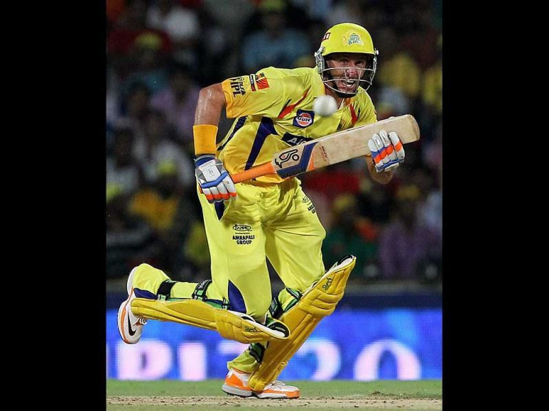 Chennai Super Kings' opener Michael Hussey plays a shot during the IPL-5 match against Delhi Daredevils in Chennai. (PTI Photo/R Senthil Kumar)