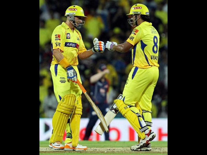 Chennai Super Kings' openers Michael Hussey and Murali Vijay during the IPL-5 match against Delhi Daredevils in Chennai. (PTI Photo/R Senthil Kumar)
