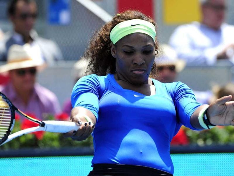 US' Serena Williams gestures during the final match of the Madrid Masters against Belorussian Victoria Azarenka at the Magic Box (Caja Magica) sports complex in Madrid. Williams won 6-1, 6-3. AFP/Javier Soriano