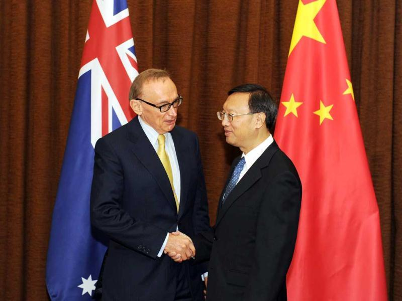 Australian foreign minister Bob Carr (L) meets with Chinese foreign minister Yang Jiechi at the foreign ministry in Beijing. AFP/Mark Ralston