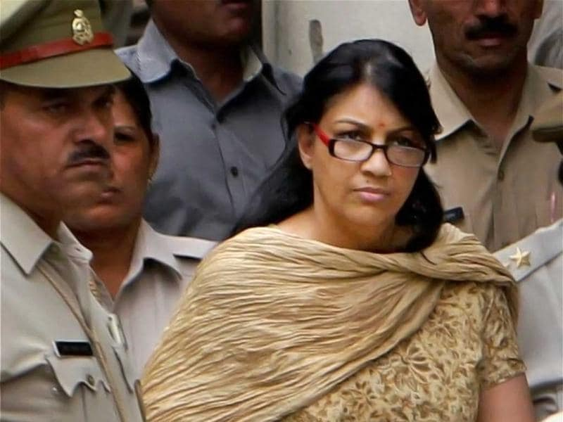 Nupur Talwar being taken to a jail after she was produced in a CBI court in Ghaziabad. PTI Photo by Atul Yadav