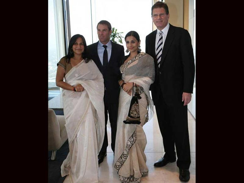 Vidya Balan was seen at the launch of the Indian Film Festival of Melbourne with festival director Mitu Bhomwick, Shane Warne & Premier of Victoria, Ted Ballieu.