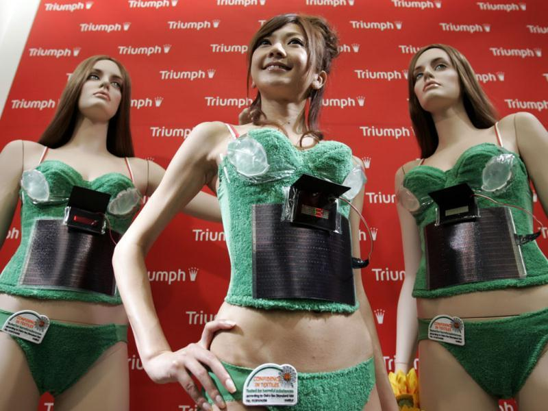 A model displays Triumph International Japan's Photovoltaic-Powered Bra during an unveiling in Tokyo. The camisole bra, which the company calls it as