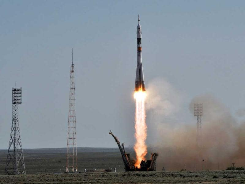 Russia's Soyuz TMA-04M spacecraft with the International Space Station (ISS) Expedition 31/32 aboard blasts off from the Russian leased Kazakh Baikonur cosmodrome. AFP/Vyacheslav Oseledko