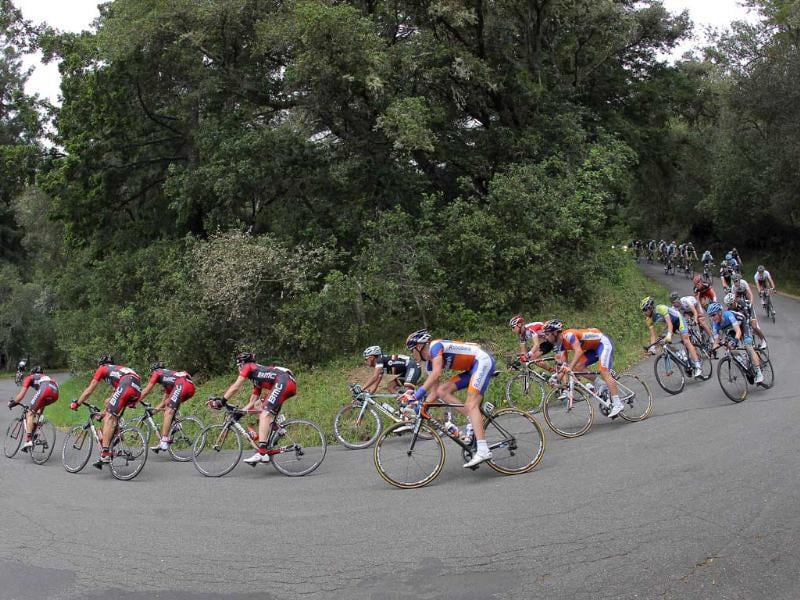 The peloton descends Coleman Valley Road during stage one of the Amgen Tour of California in Occidental, California.Doug Pensinger/Getty Images/AFP
