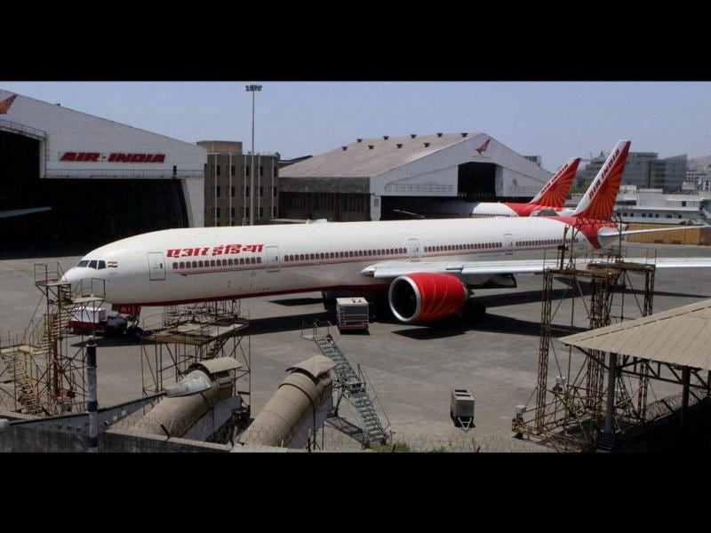 Air India aircraft parked near the Mumbai International Airport after cancellation of several flights. (PTI Photo)