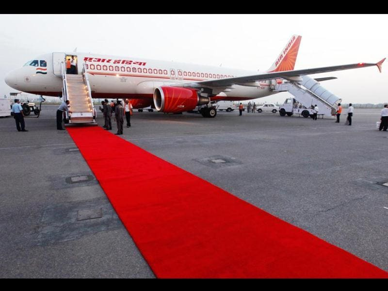 An Air India aircraft in which Maldives' President traveled stands at the IGI airport in New Delhi. (AP Photo)