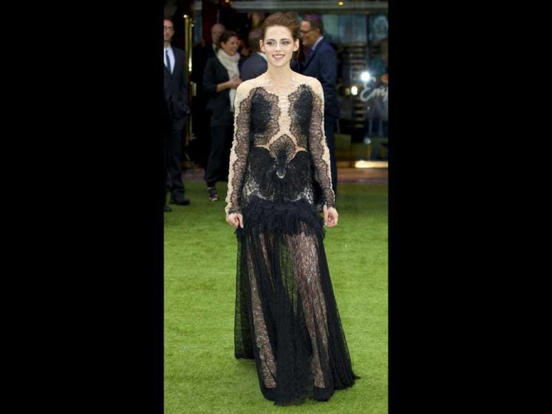 Kristen Stewart's black and nude combination looks good but there seems to be too much happening in that lace dress.