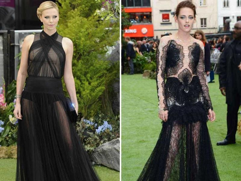 Hollywood actors Kristen Stewart and Charlize Theron were spotted in black gowns at the Snow White and the Huntsman premiere. While Charlize got the look just right, Kristen's was a bit off the mark. Check out more pics and see for yourself.