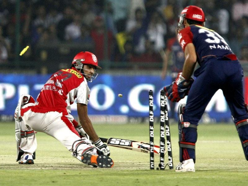 Kings XI Punjab batsman Gurkeerat Singh got out against Delhi Daredevils during the IPL match at Ferozshah kotla ground in New Delhi. HT Photo/Sunil Saxena