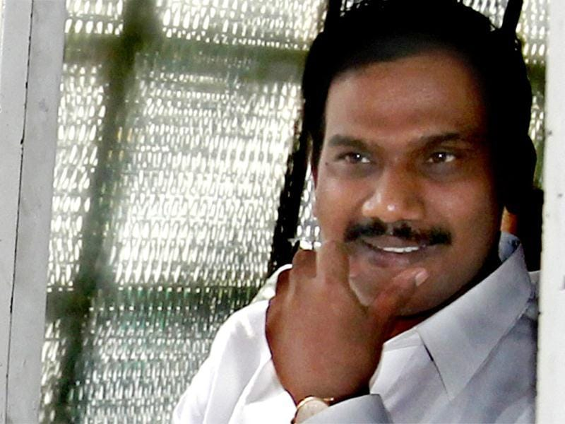 Former telecom minister A Raja leaves the Patiala House court in New Delhi. Raja was granted bail by a Delhi court in the 2G spectrum case. (PTI file photo)