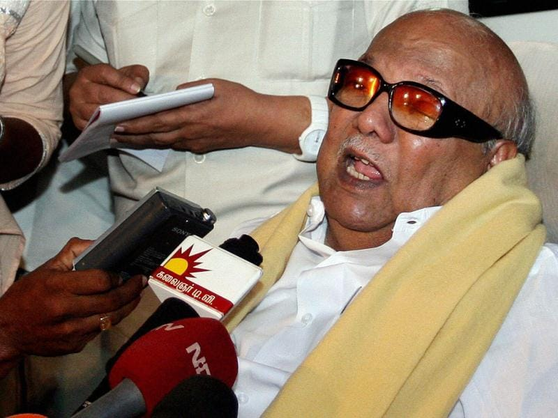 DMK chief M Karunanidhi speaks to the media after former telecom minister A Raja was granted bail in the 2G spectrum case. PTI/Senthil Kumar