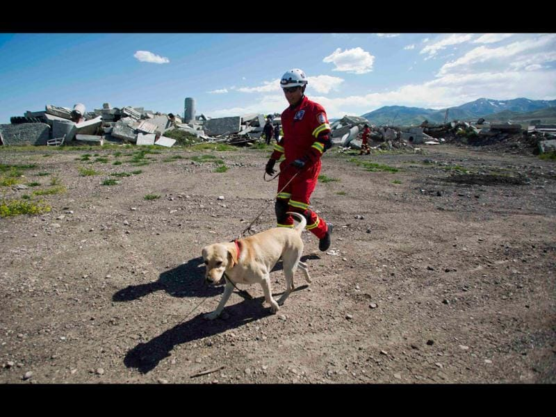 Angel Loya, a member of the Hermosillo Task Force, a K-9 search and rescue unit from Mexico, walks a dog while training with Utah Task Force 1 to search for earthquake victims in a simulated rubble pile in Salt Lake City, Utah. REUTERS/Jim Urquhart