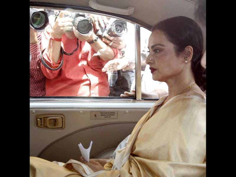 Rekha arrives at Parliament house.