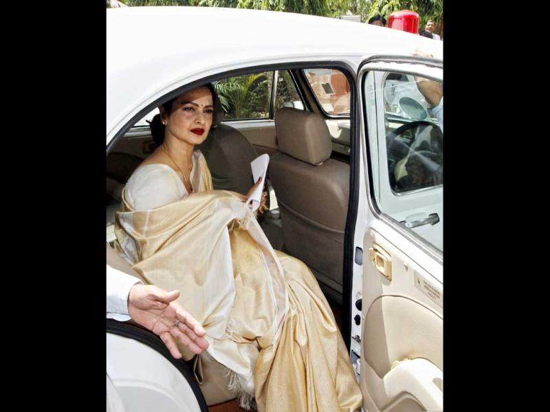 Veteran actor Rekha arrives at Parliament house to take the oath as a Rajya Sabha member in New Delhi on May 15.