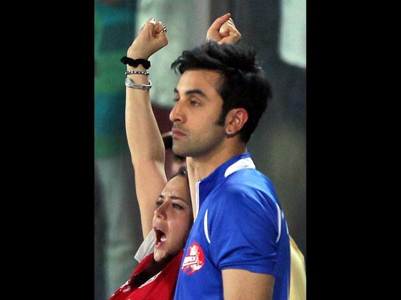 Preity Zinta cheers for her team.