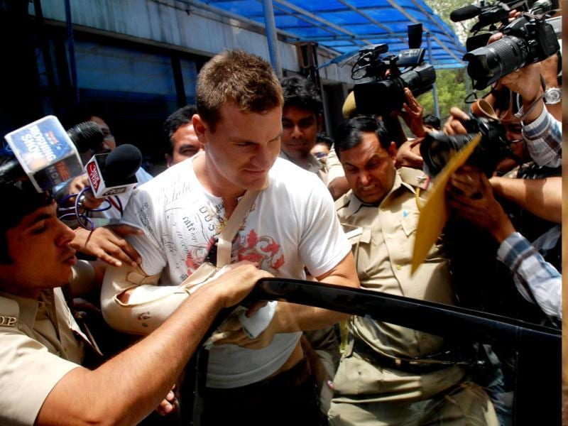 Royal Challengers Bangalore's Australian player Luke Pomersbach leaves for court after his medical examination at Ram Manohar Lohia Hospital in New Delhi on Friday. HT Photo/Sushil Kumar