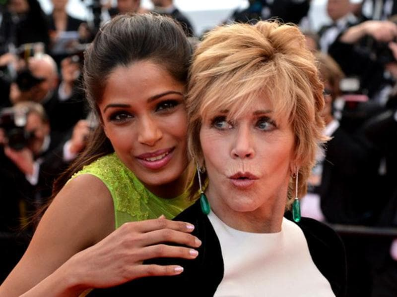 Freida Pinto and Jane Fonda at Cannes.
