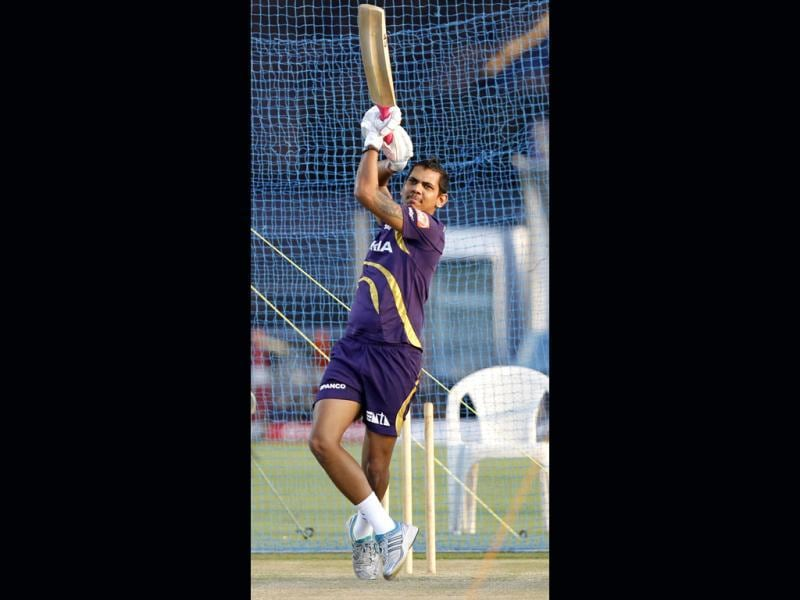 Kolkata Knight Riders player Sunil Narine during the practice session on the eve of match between Pune Warriors India and Kolkata Knight Riders at Subrata Roy Sahara Stadium. HT Photo/Kunal Patil