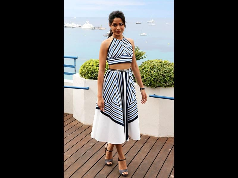 Freida Pinto poses during a photocall to promote movie Desert Dancer at the 65th Cannes film festival on May 18 (AFP photo).