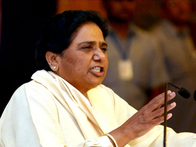 BSP supremo Mayawati addresses a press conference in New Delhi. PTI/Kamal Singh